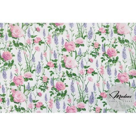 Kwiaty róże lawenda na białym tle - tkanina bawełniana