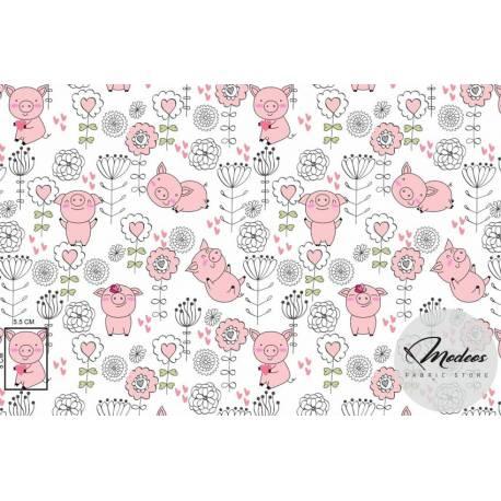 Tkanina świnka - materiał bawełna świnki