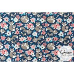 Tkanina lisy na granacie, liski kwiaty - materiał bawełna
