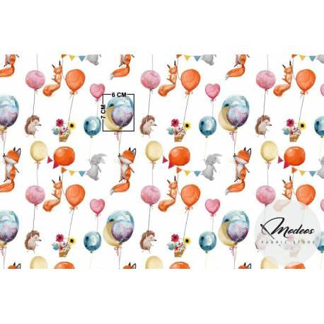 Tkanina lisy jeże króliki z balonikami - materiał bawełna