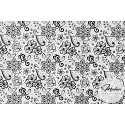 Tkanina czarna koronka na białym tle - materiał bawełna