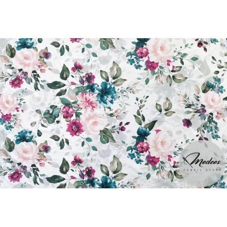 Materiał kwiaty duże róże fioletowe - tkanina bawełniana
