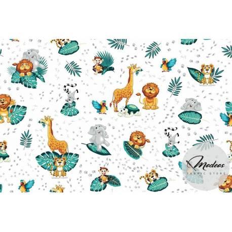 Materiał zwierzęta i liście na białym tle - tkanina bawełniana