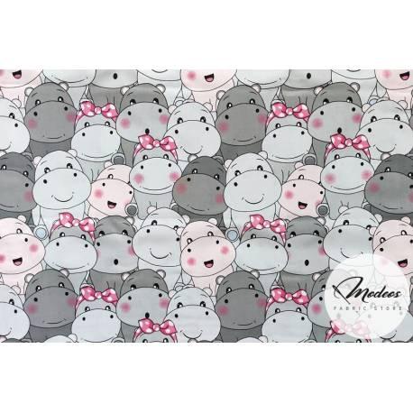 Tkanina hipopotamy szare rożowe - materiał bawełna