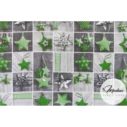 Materiał zielone gwiazdki na deskach modeos