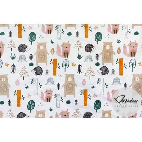 Materiał leśne zwierzęta - tkanina bawełna las