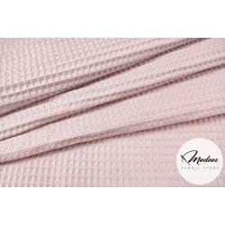 Tkanina wafel bawełniany brudny róż - bawełna wafelkowa