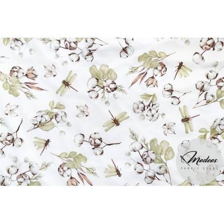 Materiał kwiaty bawełny ważki - tkanina bawełniana