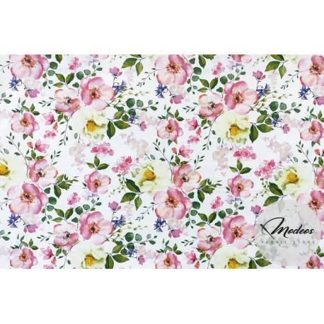 Tkanina kwiat jabłoni na białym tle - materiał w kwiaty