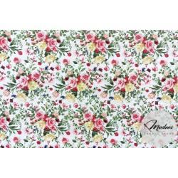 Kwiatki kwiaty na białym tle - tkanina bawełniana