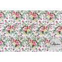 Kwiaty, róże kwiatki na białym tle - tkanina bawełniana