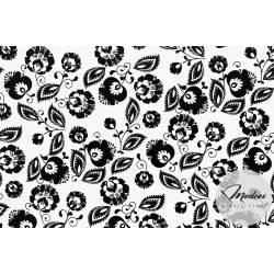 Tkanina wzór łowicki biało czarny - materiał bawełna