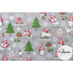 Tkanina skrzaty choinki na szarym tle - materiał świąteczny