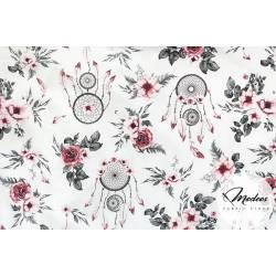 Materiał łapacze snów bordowe kwiaty - bawełna tkanina