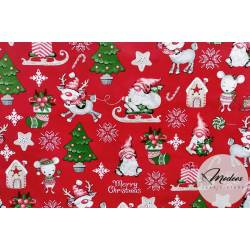 Materiał skrzaty choinki na czerwonym tle - tkanina świąteczna
