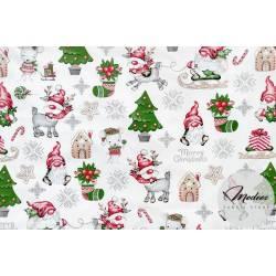 Materiał skrzaty choinki na białym tle - tkanina świąteczna