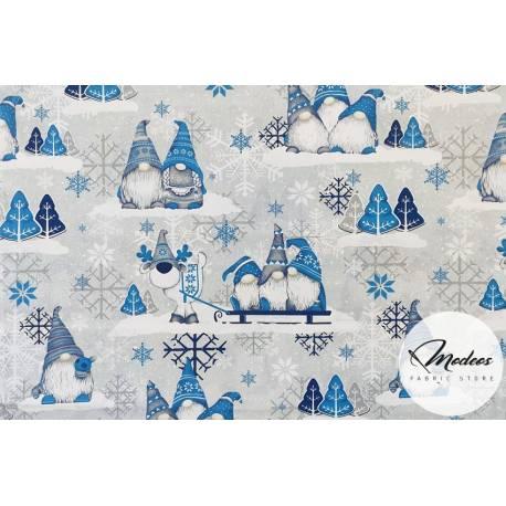 Bawełna skrzaty niebieskie na szarym tle tkanina świąteczna