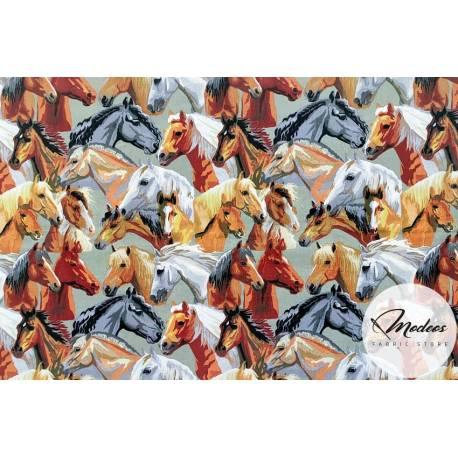 Materiał konie koniki - tkanina bawełniana