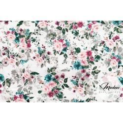 Materiał kwiaty bukiety czerwone - tkanina bawełniana