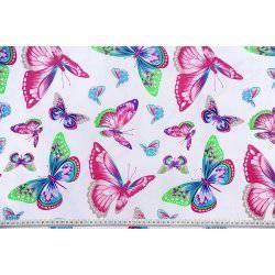 Kolorowe motyle na białym tle - tkanina bawełniana
