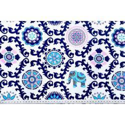 Ornament Słoń Wzór indyjski Niebieski Tkanina bawełna
