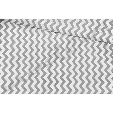 Zygzak biało-szary - tkanina bawełniana