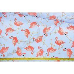 Koralowe flamingi na błękitnym tle - tkanina bawełniana