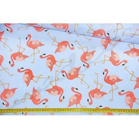 Flamingi na niebieskim tle- tkanina bawełniana