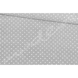Białe groszki na szarym tle - tkanina bawełniana