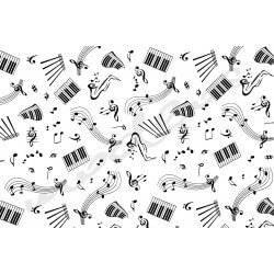 Czarne nuty, muzyka, instrumenty na białym tle - tkanina bawełniana