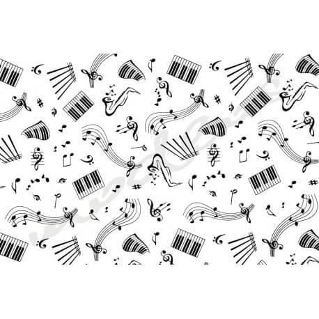 Muzyka Nutki na białym tle - tkanina bawełniana
