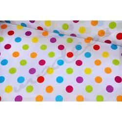 Kolorowe dropsy, grochy na białym tle - tkanina bawełniana