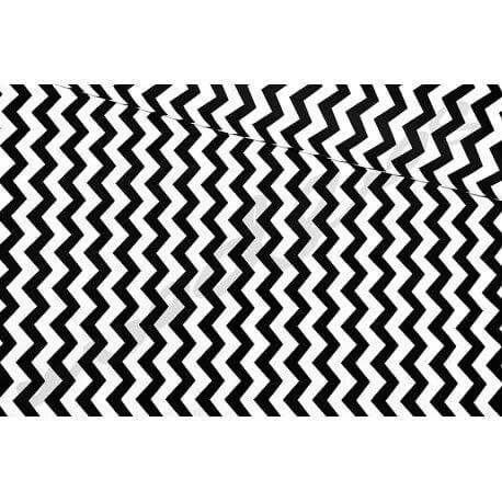 Zygzak czarny tkanina poscielowa materiał bawelna