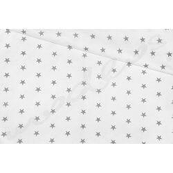 Szare gwiazdki na białym tle - tkanina bawełniana