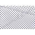 Czarne groszki na białym tle - tkanina bawełniana