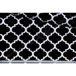 Maroko czarne Wzór marokański Tkanina bawełniana