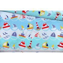 Kolorowe statki, żaglówki, latarnie morskie - tkanina bawełniana