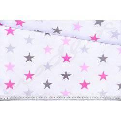 Szare i różowe gwiazdki na białym tle - tkanina bawełniana