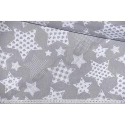 Białe gwiazdy, gwiazdozbiór na szarym tle - tkanina bawełniana