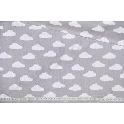 Białe chmurki na szarym tle - tkanina bawełniana