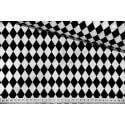Czarne romby na białym tle, arlekin - tkanina bawełniana