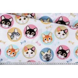 Kolorowe, pastelowe kotki - tkanina bawełniana