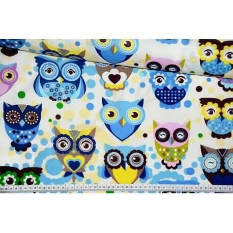 Puchacze niebieskie tkanina bawełna