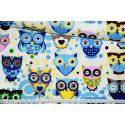 Niebieskie puchacze, sowy, sówki - tkanina bawełniana