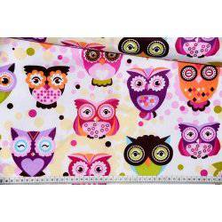Puchacze fioletowe tkanina bawełna