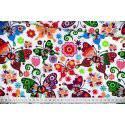 Kolorowe motyle łowickie na białym tle - tkanina bawełniana