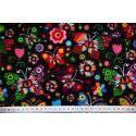 Kolorowe motyle łowickie na czarnym tle - tkanina bawełniana