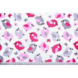 Różowe i szare ptaszki na białym tle - tkanina bawełniana