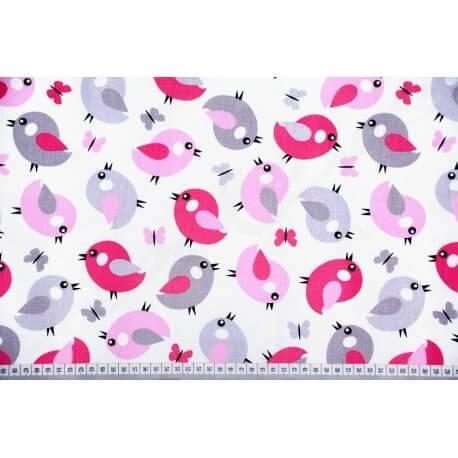 Ptaszki na białym tle - tkanina pościelowa dla dzieci