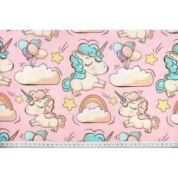 Jednorożce, kucyki, tęcza na różowym tle - tkanina bawełniana